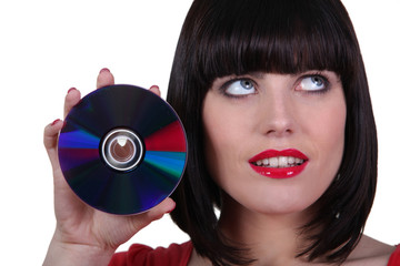 Woman showing CD