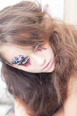 Artistic woman mime - art dramatic make up. Body painting