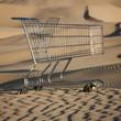 """""""USA, Utah, Little Sahara, abandoned shopping cart on desert"""""""