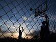 """USA, Utah, Salt Lake City, two young men playing street basketball"""