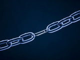 Chain linked with paper clip against blue background