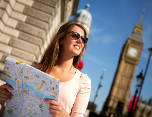 Woman sightseeing in London