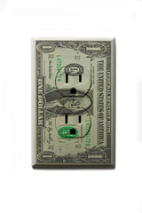 One US dollar bill plug socket on white background