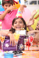 little girl at birthday party