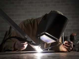 """USA, Utah, Orem, welder using torch"""