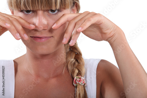 Blond woman with braid and fringe