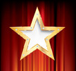 red curtain gold star