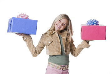 """Girl (10--11) standing with gifts, portrait"""