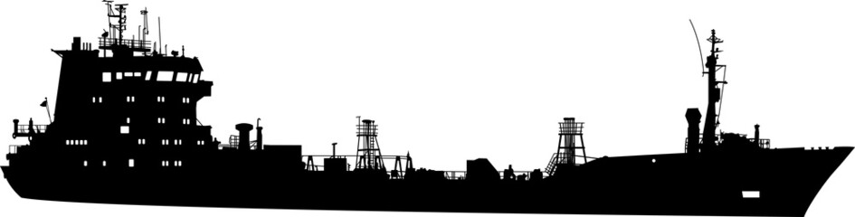 Silhouette of the sea tanker ship with container
