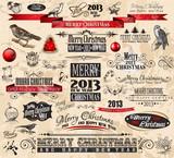 2013 Christmas Vintage typograph design elements poster