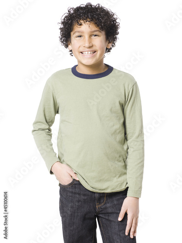Studio portrait of boy (8-9) smiling