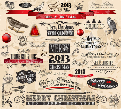 2013 Christmas Vintage typograph design elements