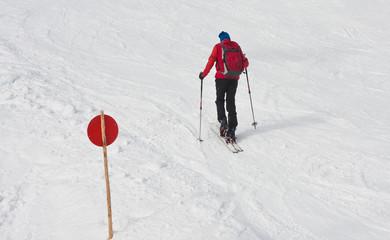 Ski mountaineer. Ski resort Zell am See. Austria
