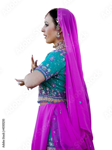 """USA, Utah, Spanish Fork, Studio shot of mid adult woman in traditional indian clothing"""