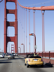 """USA, California, San Francisco, cars on Golden Gate Bridge"""