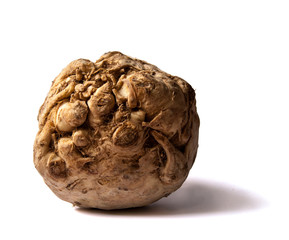 Whole celeriac isolated on white background