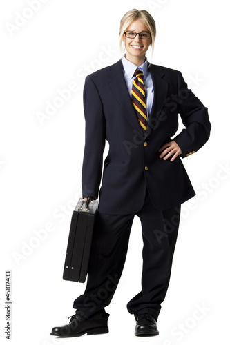 Studio portrait of businesswoman with briefcase
