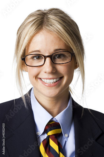 Studio portrait of businesswoman wearing glasses