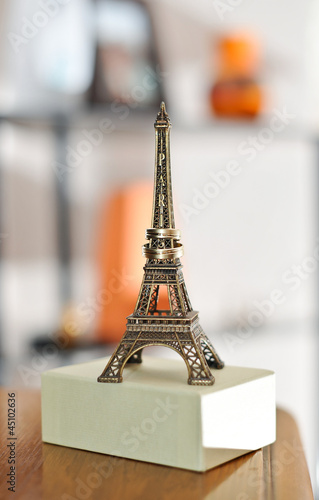 Just married in Paris. Two wedding rings  and miniature Eiffel T