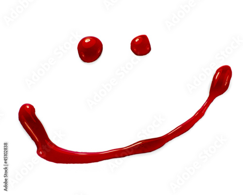 Blood or red paint droplets smiley face