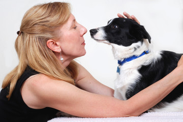 Woman with dog, Border Collie