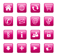 Button Icon Set Quadratisch Magenta