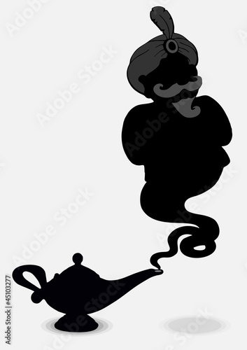 Aladdin's Lamp with a ghost isolated on a gray background