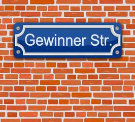 Wand Schild Gewinner Straße