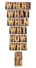 questions collage in wood type