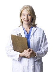 Studio portrait of female doctor holding clipboard