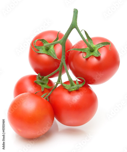 Bunch of fresh tomatoes on white background