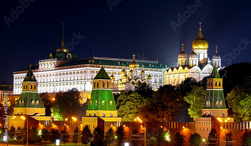 View of Grand Kremlin Palace and cathedrals in Moscow Kremlin