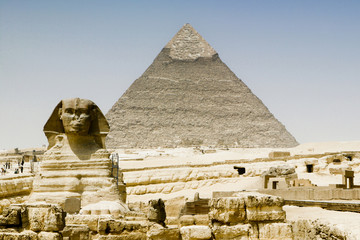 """View of the Sphinx in front of a pyramid, Egypt"""