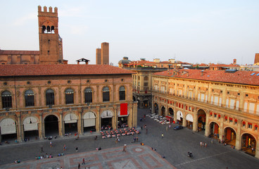 Italy, Bologna King Enzo and Bianchi palace aerial view.
