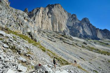 Dolomiti, Italia - sentiero sul Catinaccio Rosengarten