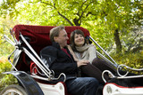USA, New York City, Manhattan, Central Park, Mature couple in carriage in Central Park