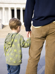 USA, Washington DC, Lincoln Memorial, Father and son, rear view