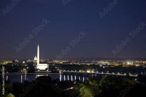 USA, Washington DC, Night skyline of city