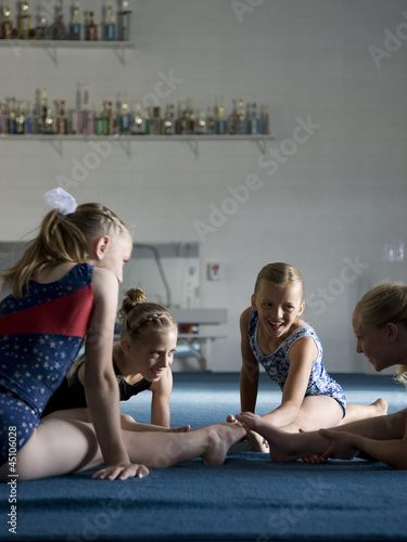 USA, Utah, Orem, girls (8-11) exercising in gym