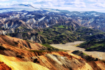 Landmannalaugar colorful mountains landscape view, Iceland