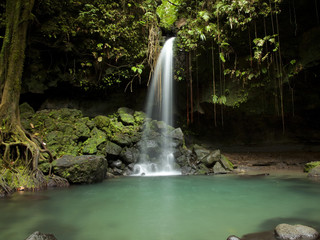 Dominica, Emerald Falls, Small waterfall at forest pool