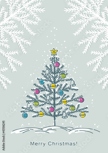 christmas tree  on color background, vector