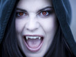 """USA, Utah, Cedar Hills, Portrait of female teenage vampire (16-17) wearing hood"""