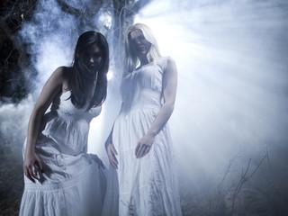 """""""USA, Utah, Cedar Hills, Portrait of vampires outdoors at night"""""""