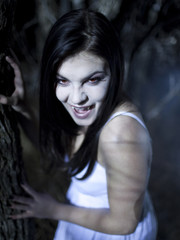 """USA, Utah, Cedar Hills, Portrait of female teenage vampire (16-17) in forest at night"""