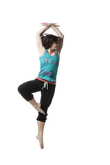 Woman exercising standing on one leg