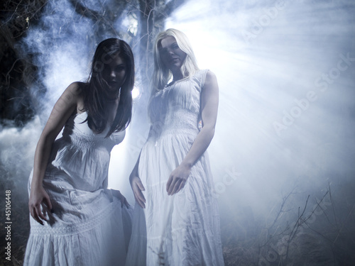 """USA, Utah, Cedar Hills, Portrait of vampires outdoors at night"""