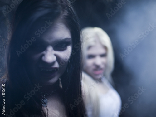 """USA, Utah, Cedar Hills, Portrait of female vampires outdoors at night"""