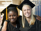 """USA, Utah, Spanish Fork, Portrait of two female graduate students (14-17) embracing"""