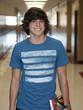 """USA, Utah, Spanish Fork, Portrait of school boy standing in corridor"""